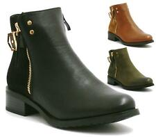 WOMENS LADIES GOLD ZIP UP ANKLE LOW HEEL PIXIE FLAT RIDING BOOTS BOOTIES SIZE 3-