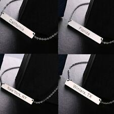 Fashion Stainless Steel Custom US State Bar Pendant Choker Necklace Jewelry Gift