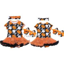 3Pcs Infant Baby Girls Halloween Pumpkin Outfits Romper  Costumes Headband Shoes