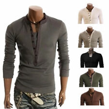Long Sleeve V-neck Front Fashion T-Shirt Slim Fit Shirts Casual Button Men Z1096