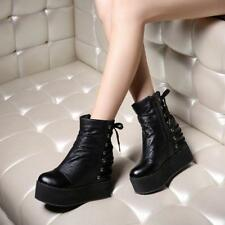 Fashion Comfort Womens PUNK Wedge Heels Shoes Lace Up Platform Goth Ankle Boots