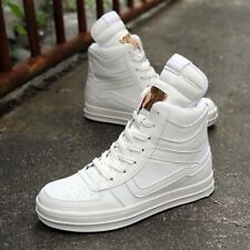 High Top Mens Fashion Sneakers Lace Up Pu Leather Sport Side Zip Casual Athletic