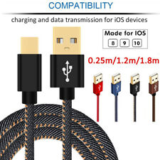 Strong Denim Gold Plug Data Sync 2A Fast Charger Cable Cord for iPhone 6s 7 iPod