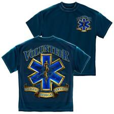 Emergency Services Volunteer Gold Shield T-Shirt by Erazor Bits, Navy Blue