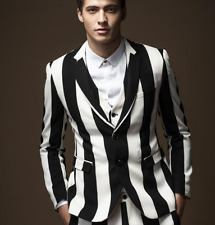 HOT Mens stripe slim fit casual business coats dress formal party jackets M-3XL