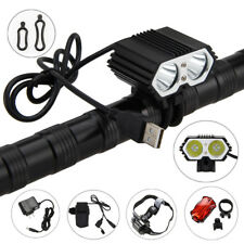 5V 5000LM 2X XM-T6 LED USB Rechargeable Bicycle light Bike Lamp+Headbnad+battery