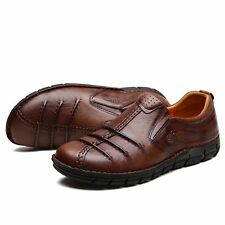 Retro British Leather Slip On Brown Loafers Mens Casual Round Toe Soft Shoes New