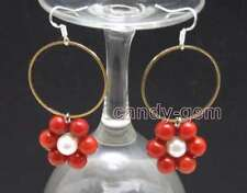 SALE Natural white pearl & Red Coral with Gold-color metal Ring Earring-ear606