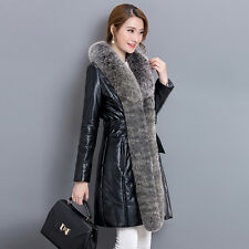Womens Outdoor Fur Collar Slim Fit Long Parka Leather Down Jackets Quilted Coats
