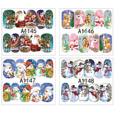 12x Water Transfer Christmas 3D DIY Nail Art Wraps Stickers Decals Stickers Tips