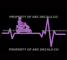 VRS Heart Beat Line MOTORCYCLE Vespa Electric Gas Scooter Man CAR VINYL DECAL