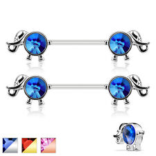 Pair of Round CZ Elephant Surgical Steel Barbells Nipple Rings 14G