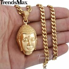 Mens Chain Stainless Steel Gold Plated Curb Cuban Link Buddha Pendant Necklace