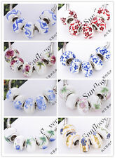 5 Pcs Silver MURANO GLASS BEAD LAMPWORK Fit European Charm Bracelet  8Color