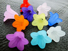 12x17mm 30/60/100pcs FROSTED ASSORTED COLORS ACRYLIC FLOWER BEADS CC6148