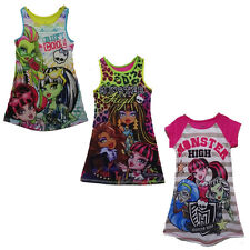 Girl Kids Monster High 6-16Y Sleepwear Leopard Striped Nightgown Dress Pajamas
