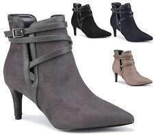 New Womens Sexy Faux Suede Stiletto Heel Pointed Toe Smart Ankle Boots Shoes