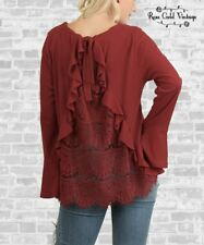 NWT Boutique Umgee Plus Lace Back Bell Sleeve Top - Burgundy - XL, 1X & 2X