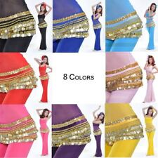 3 Rows Gold Coins Belt Belly Dance Costume Velvet Hip Scarf Dancing Skirt Wrap