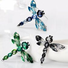 Retro Silver Dragonfly Crystal Brooch Pin Costume Broach Women Christmas Jewelry