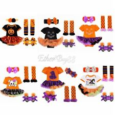 0-24M Baby Girls Clothes Halloween Pumpkin Bodysuit Romper Jumpsuit Tutu Outfits