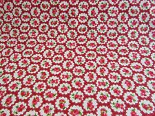 Red fat quarter half metre and metre floral rose fabric 100% cotton sale
