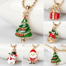 Gold Christmas Tree Santa Claus Pendant Necklace Chain Xmas Party Women Jewelry
