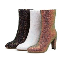 Womens Fashion Mid Calf Boots High Block Heels Pointy Toe Sequins Bling Shoes