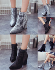 Women Mid Block Heel Velvet Chelsea Ankle Boots Pointed Toe Side Zip Up Shoes