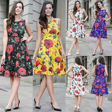 Ladies Summer Floral Printed Sleeveless Boat Neck Skater Casual Dress UK 8 12 20