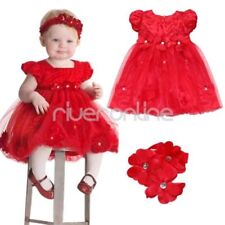 Baby Girls Infant Red Wedding Pageant Party Princess Tutu Dress Flower Headband