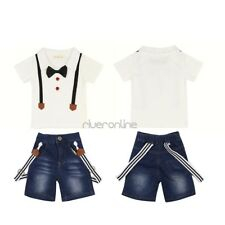 Baby Boy Infant Summer Gentleman Outfits T-shirt Jeans Pants Set Outfits Clothes