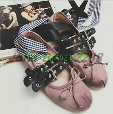 Women Shoes Round Bandage Toe Ballet Flats Buckle Cross Strap Lace Up New