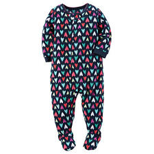 NWT ☀FOOTED FLEECE☀ CARTERS Girls HEARTS Pajamas New   4  4T  $30