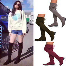 Women Suede Over The Knee Thigh Block Heel Stretch Boots Side Zipper Lace Boots