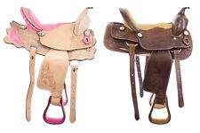 10 12 13 Western Leather Youth Child Brown Pink Tooled Pony Horse Trail Saddle