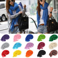 Colorful Fashion Cotton Linen Mixed Crinkle Women Long Pure Scarf Wrap Shawl Hot