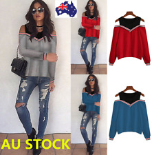 Women Off Shoulder Long Sleeve T-Shirt Ladies Casual Loose Party Tops Blouse