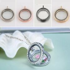 30mm Round Crystal Memory Living Locket Pendant Necklace For Floating Charm New
