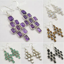 925 Sterling Silver Natural Stones Earrings ! Birthday Present Discount Jewelry