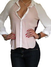 Ladies Blouse Shirt Long Sleeve Chiffon Loose Casual Tops Size 8 10 12 14 16