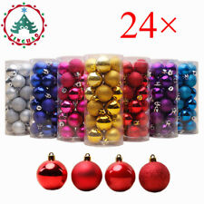 24Pcs 30mm Party Ornament Christmas Xmas Tree Ball Bauble Hanging Decorations