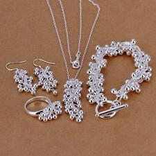 925 Silver Plated Grape Beads Chain necklace Bracelet Earring ring jewelry sets
