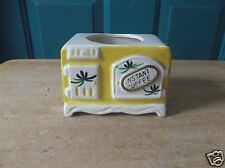 Vintage Lego Japan Ceramic Stove-Shaped Yellow and White Planter