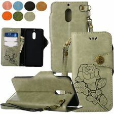 Retro Flower PU Leather Flip Wallet Magnetic Stand Case Cover For Nokia 6/N630