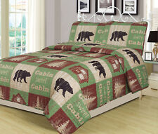 Twin, Full/Queen, or King Cabin Bear Quilt Set Country Rustic Lodge Bedspread