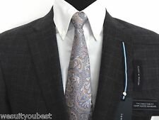 Tommy Hilfiger 100% Wool Gray Plaid Checkered Mens Suit Trim Fit F70409