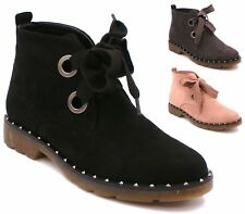 Womens Ladies Flat Low Heel Black Desert Ankle Boots Work Office Lace Up Comfort