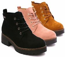 WOMENS FAUX SUEDE FLAT LOW HEEL LACE UP PLATFORM GRIP SOLE ANKLE SHOES BOOTS