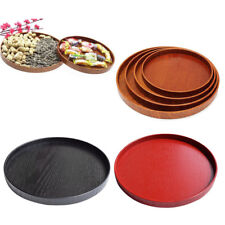 1pc Wood Plate Serving Food Fruit Snack Tray Dish Salad Bowl Round Wooden Plate